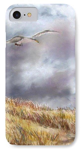Seagull Flying Over Dunes Phone Case by Jack Skinner
