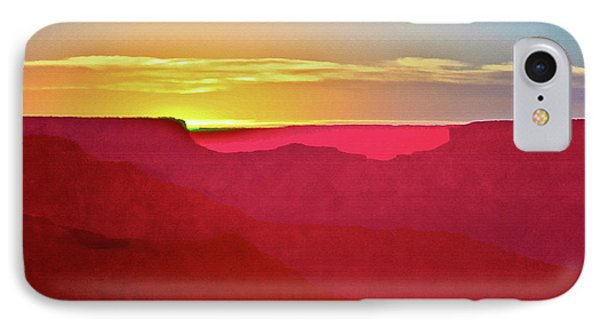 IPhone Case featuring the painting   Sunset At Grand Canyon Desert View by Bob and Nadine Johnston