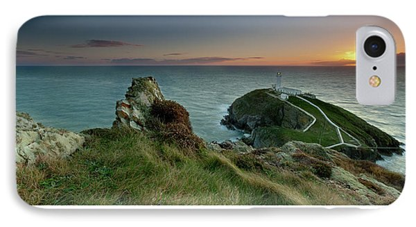 IPhone Case featuring the photograph  Sunset At South Stack Lighthouse by Beverly Cash