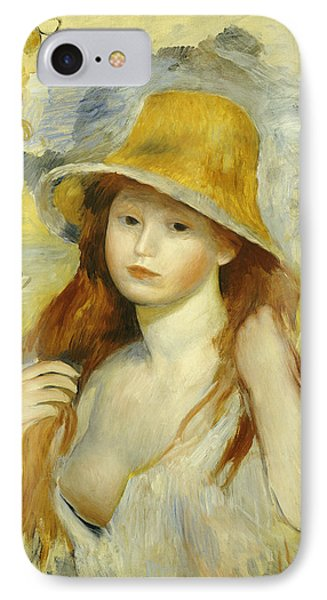 Young Girl With A Straw Hat IPhone Case by Pierre Auguste Renoir