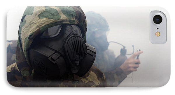 A Marine Wearing A Gas Mask Phone Case by Stocktrek Images