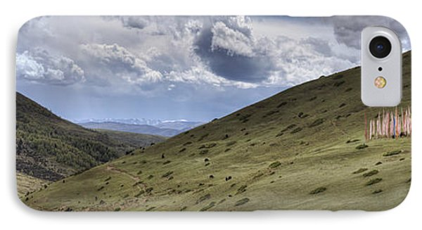 A Mountain Valley With A Large Group IPhone Case by Phil Borges