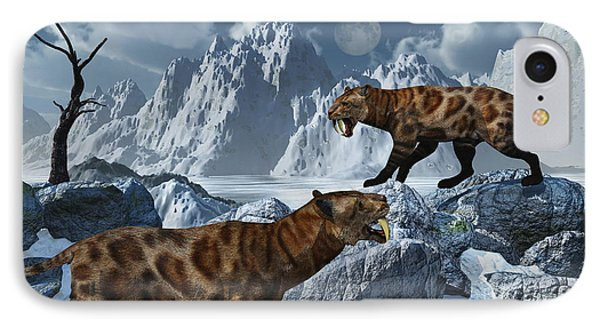 A Pair Of Sabre-toothed Tigers Phone Case by Mark Stevenson