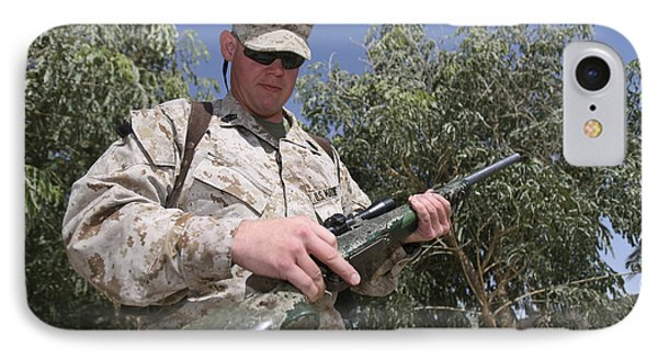 A Soldier Holds The M-40a1 Sniper Rifle Phone Case by Stocktrek Images