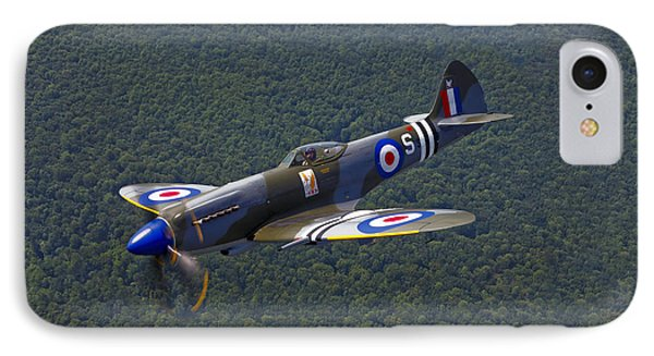 A Supermarine Spitfire Mk-18 In Flight Phone Case by Scott Germain
