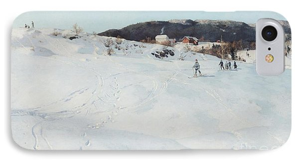 A Winter's Day In Norway Phone Case by Fritz Thaulow