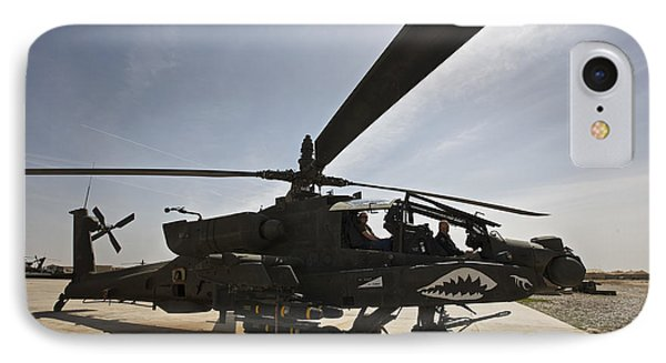 An Ah-64d Apache Helicopter Parked IPhone Case