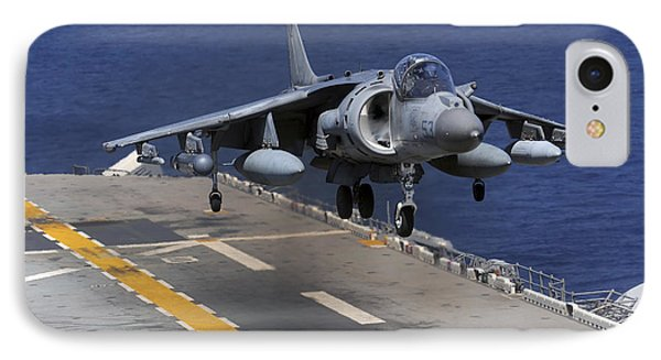 An Av-8b Harrier Jet Lands Phone Case by Stocktrek Images