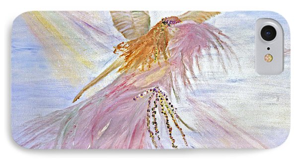 IPhone Case featuring the painting Angel-keeper Of The Rainbow by Joy Braverman