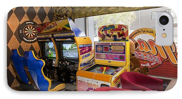 Arcade Game Machines At A Diner Phone Case by Jaak Nilson