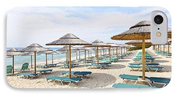 Beach Umbrellas On Sandy Seashore Phone Case by Elena Elisseeva