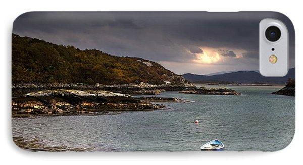 Boat In Water, Loch Sunart, Scotland Phone Case by John Short