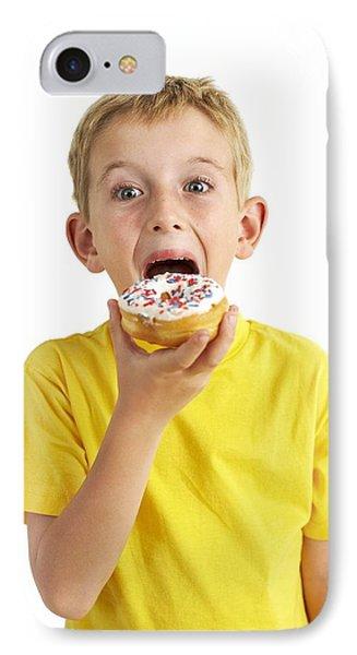 Boy Eating A Doughnut IPhone Case