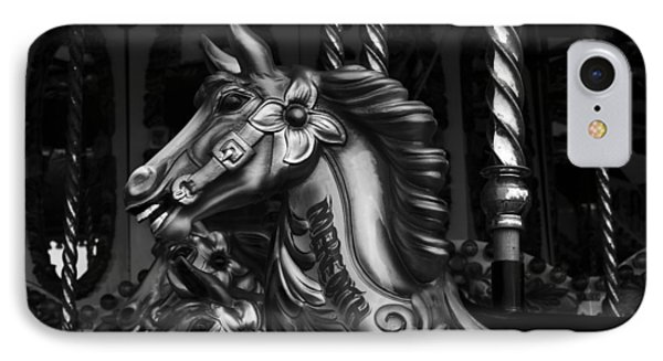 IPhone Case featuring the photograph Carousel Horses Mono by Steve Purnell