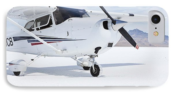 Cessna Aircraft On Bonneville Salt Flats Phone Case by Paul Edmondson