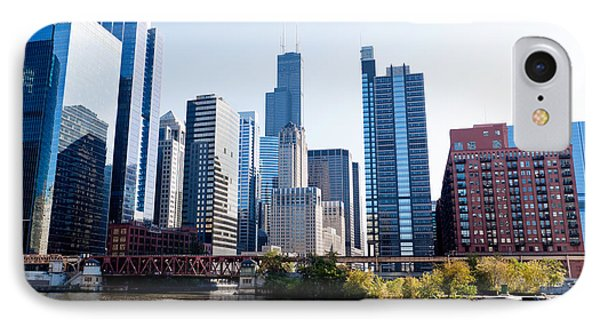 Chicago River Skyline With Sears-willis Tower IPhone Case by Paul Velgos