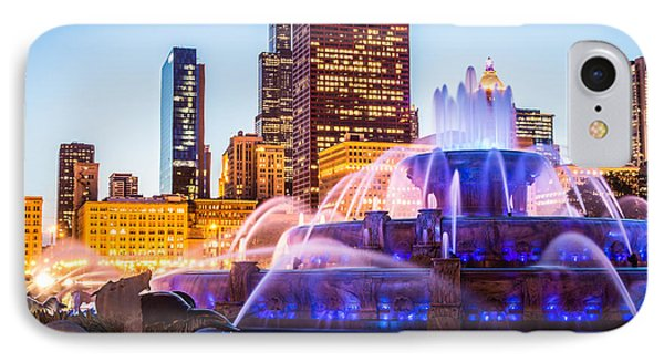 Chicago Skyline At Night With Buckingham Fountain IPhone Case