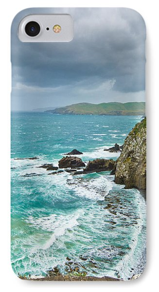 Cliffs Under Thunder Clouds And Turquoise Ocean Phone Case by Ulrich Schade