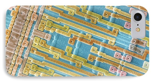 Coloured Sem Of Surface Of An Eprom Silicon Chip Phone Case by Power And Syred