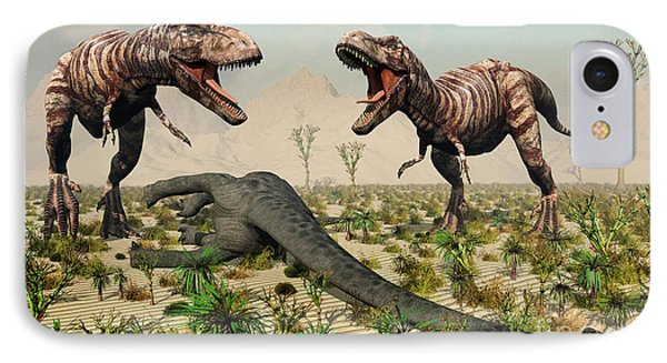 Confrontation Between A Pair Of T. Rex Phone Case by Mark Stevenson