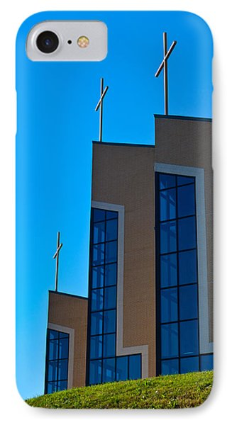 IPhone Case featuring the photograph Crosses Of Livingway Church by Ed Gleichman