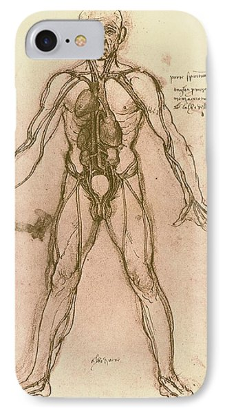 Drawing Of Human Venous System (leonardo Da Vinci) Phone Case by Mehau Kulyk
