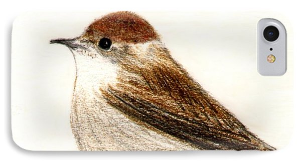 IPhone Case featuring the drawing Female Blackcap  by Barbara Moignard