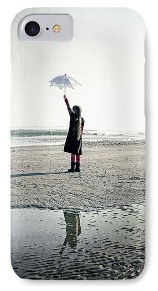 Girl On The Beach With Parasol Phone Case by Joana Kruse