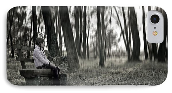 Girl Sitting On A Wooden Bench In The Forest Against The Light Phone Case by Joana Kruse