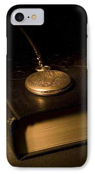 Gold Pocket Watch Resting On A Book Phone Case by Philippe Widling