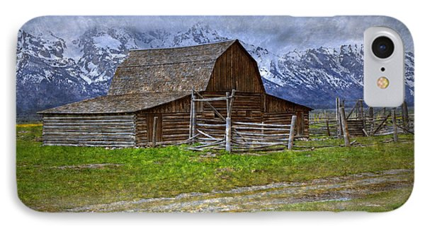 Grand Teton Iconic Mormon Barn Fence Spring Storm Clouds Phone Case by John Stephens