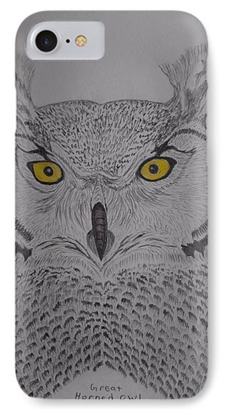 IPhone Case featuring the drawing Great Horned Owl by Gerald Strine