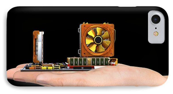 Hand With Computer Motherboard, Artwork IPhone Case