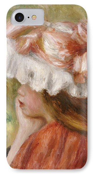 Head Of A Young Girl In A Red Hat  IPhone Case by Pierre Auguste Renoir