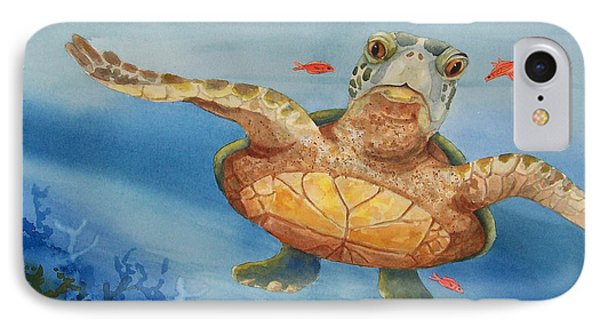 IPhone Case featuring the painting Henry C. Turtle-lunch With Friends by Joy Braverman