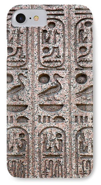 Hieroglyphs On Ancient Carving Phone Case by Jane Rix