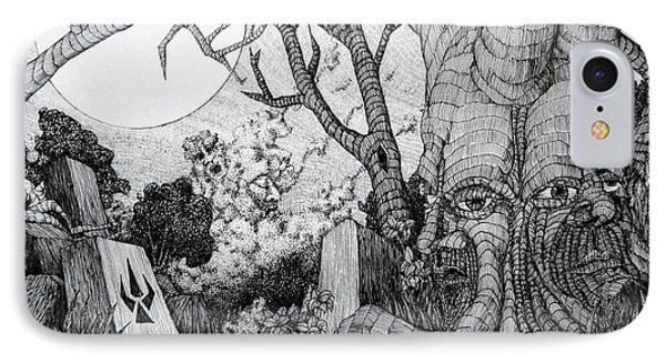 IPhone Case featuring the drawing In My Garden  by Mariusz Zawadzki