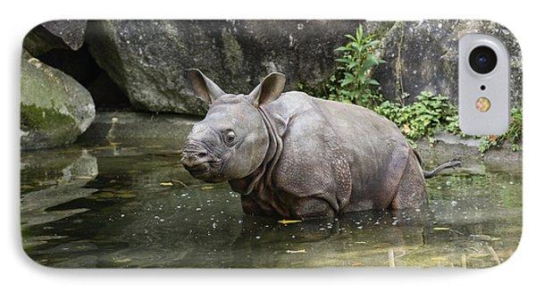 Indian Rhinoceros Rhinoceros Unicornis Phone Case by Konrad Wothe