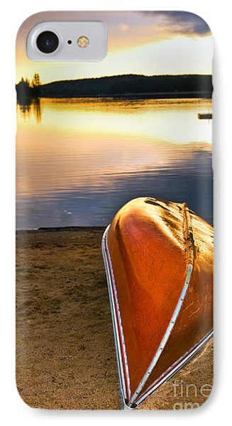 Lake Sunset With Canoe On Beach IPhone Case