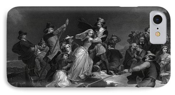 Landing Of The Pilgrims On Plymouth IPhone Case by Photo Researchers