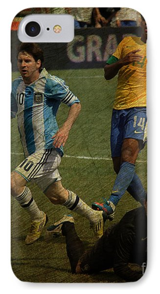 Lionel Messi Breaking Raphael Cabrals Ankles II Phone Case by Lee Dos Santos
