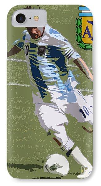 Lionel Messi The Kick Art Deco Phone Case by Lee Dos Santos