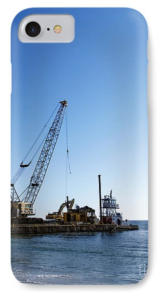 Machinery Cleaning Up A Pier Phone Case by Skip Nall