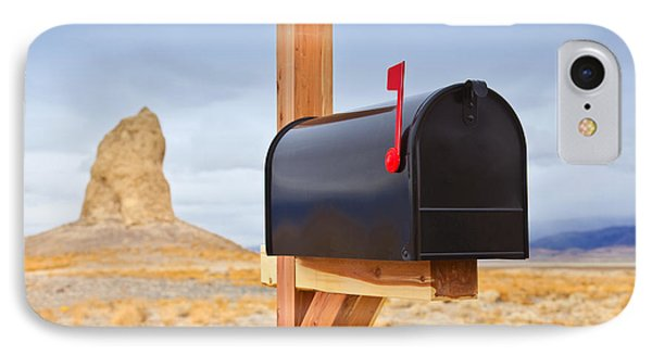 Mailbox In Desert Phone Case by David Buffington