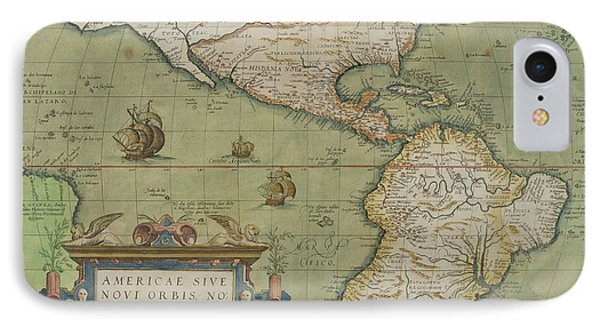 Map Of North And South America Phone Case by Abraham Ortelius