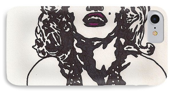IPhone Case featuring the drawing Marilyn Monroe by Jeremiah Colley