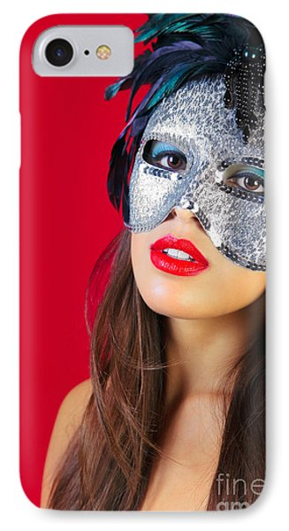 Masquerade Mask Red Background Phone Case by Richard Thomas