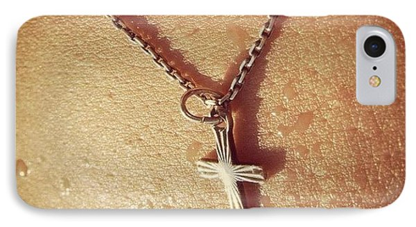 Necklace With Cross - Skin With Waterdrops IPhone Case
