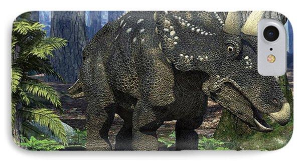 Nedoceratops Dinosaur, Artwork Phone Case by Roger Harris