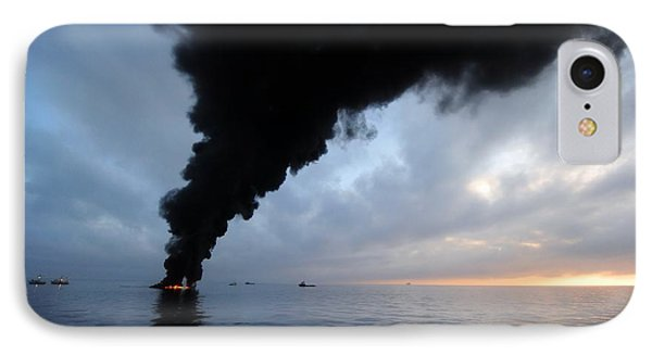Oil Spill Burning, Usa IPhone Case by U.s. Coast Guard